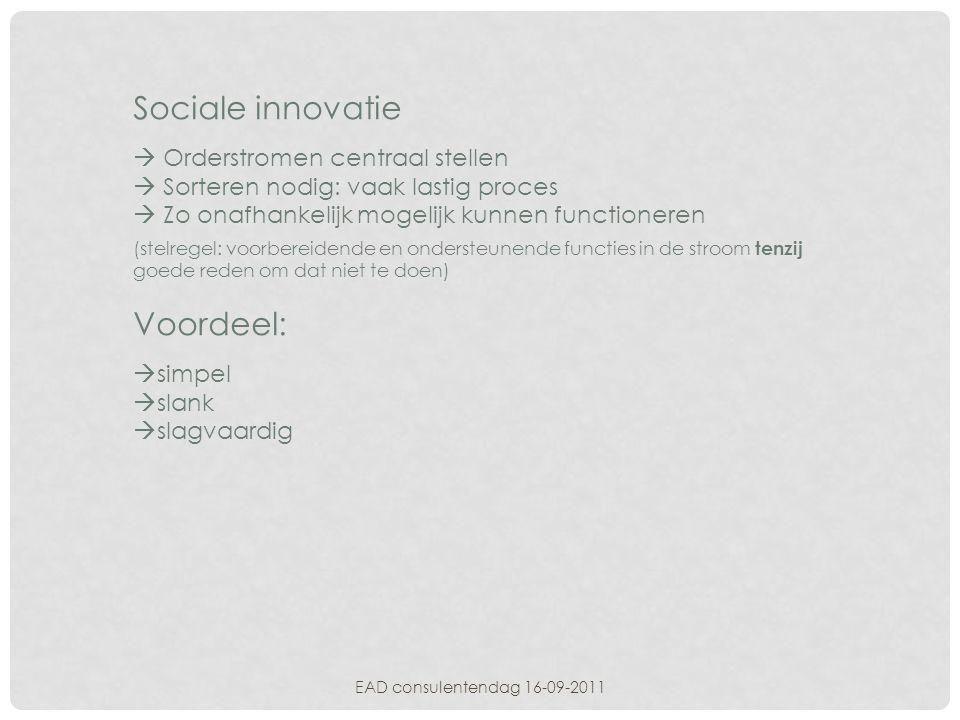 EAD consulentendag 16-09-2011 Sociale innovatie  Orderstromen centraal stellen  Sorteren nodig: vaak lastig proces  Zo onafhankelijk mogelijk kunne