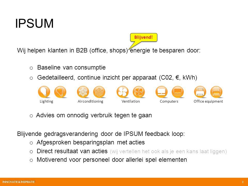 Wij helpen klanten in B2B (office, shops) energie te besparen door: IPSUM Lighting Airconditioning Ventilation Computers Office equipment Blijvend! o