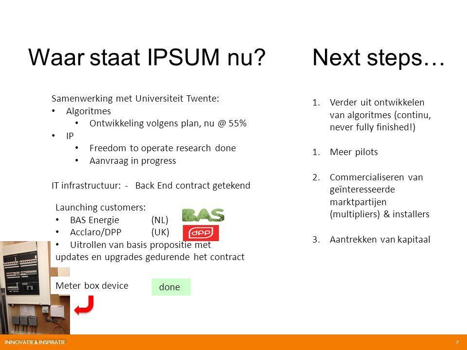 Waar staat IPSUM nu?Next steps… 1.Verder uit ontwikkelen van algoritmes (continu, never fully finished!) 1.Meer pilots 2.Commercialiseren van geïntere