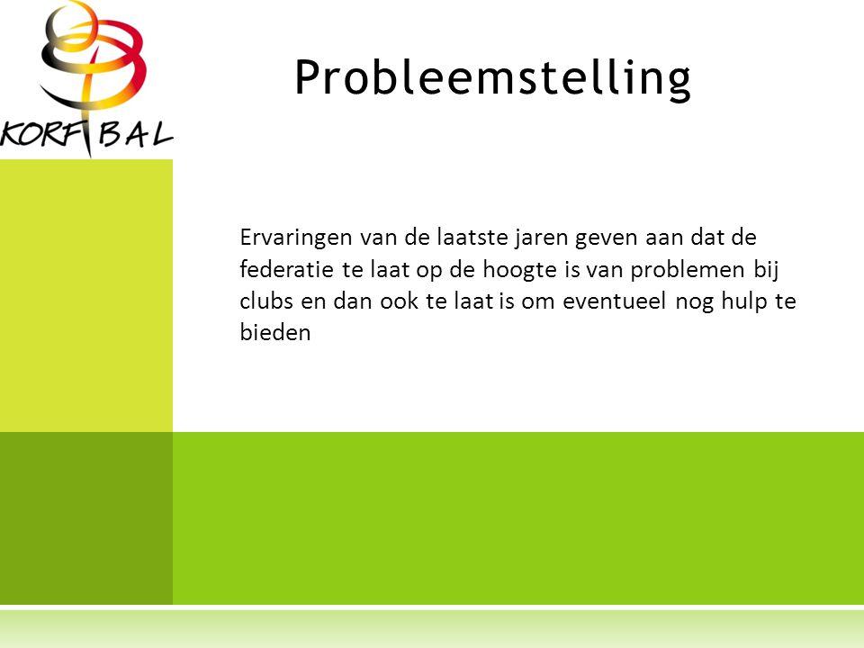 Probleemstelling Problemen bij clubs worden momenteel door de federatie vanuit het buikgevoel benaderd of verschillende indicatoren worden niet naast elkaar gelegd.
