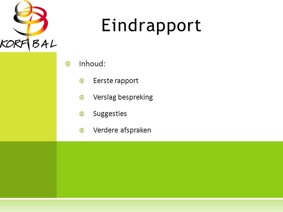 Eindrapport  Inhoud:  Eerste rapport  Verslag bespreking  Suggesties  Verdere afspraken