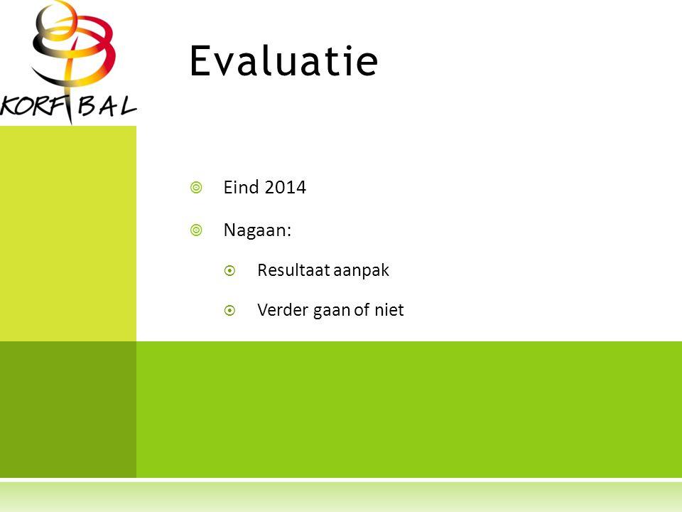 Evaluatie  Eind 2014  Nagaan:  Resultaat aanpak  Verder gaan of niet