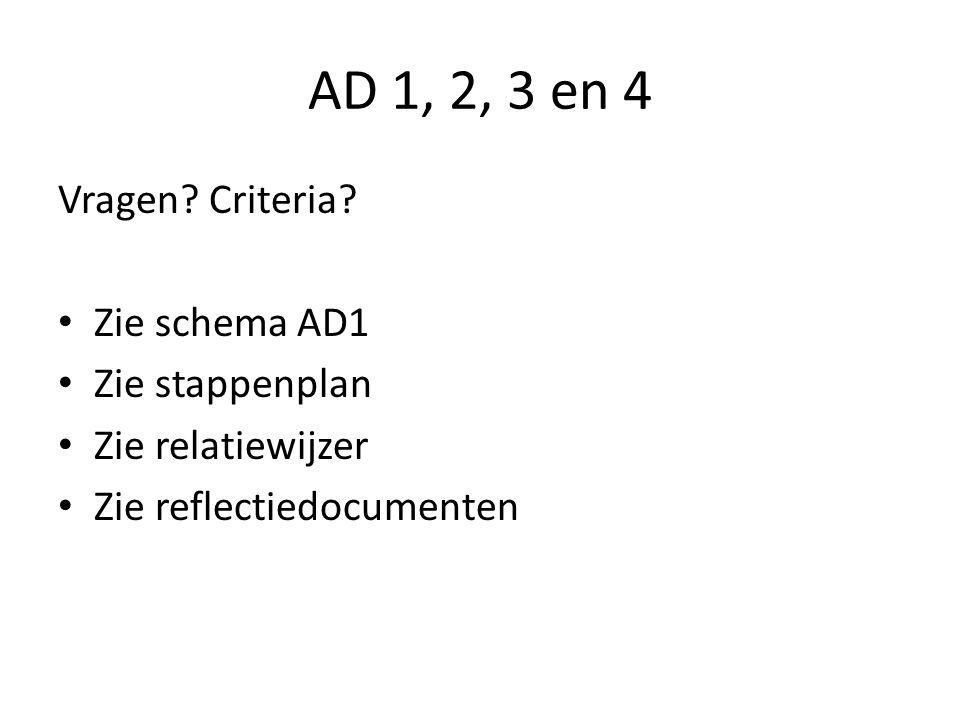 AD 1, 2, 3 en 4 Vragen? Criteria? • Zie schema AD1 • Zie stappenplan • Zie relatiewijzer • Zie reflectiedocumenten