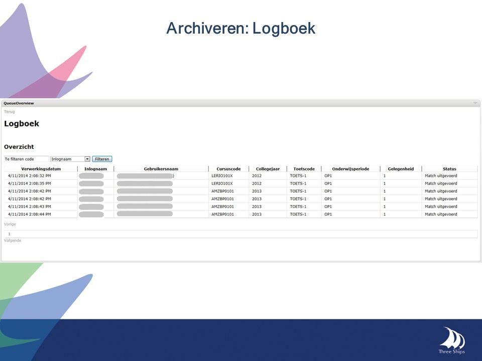 Archiveren: Logboek