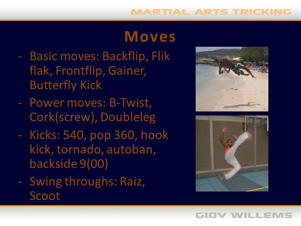 Moves -Basic moves: Backflip, Flik flak, Frontflip, Gainer, Butterfly Kick -Power moves: B-Twist, Cork(screw), Doubleleg -Kicks: 540, pop 360, hook ki