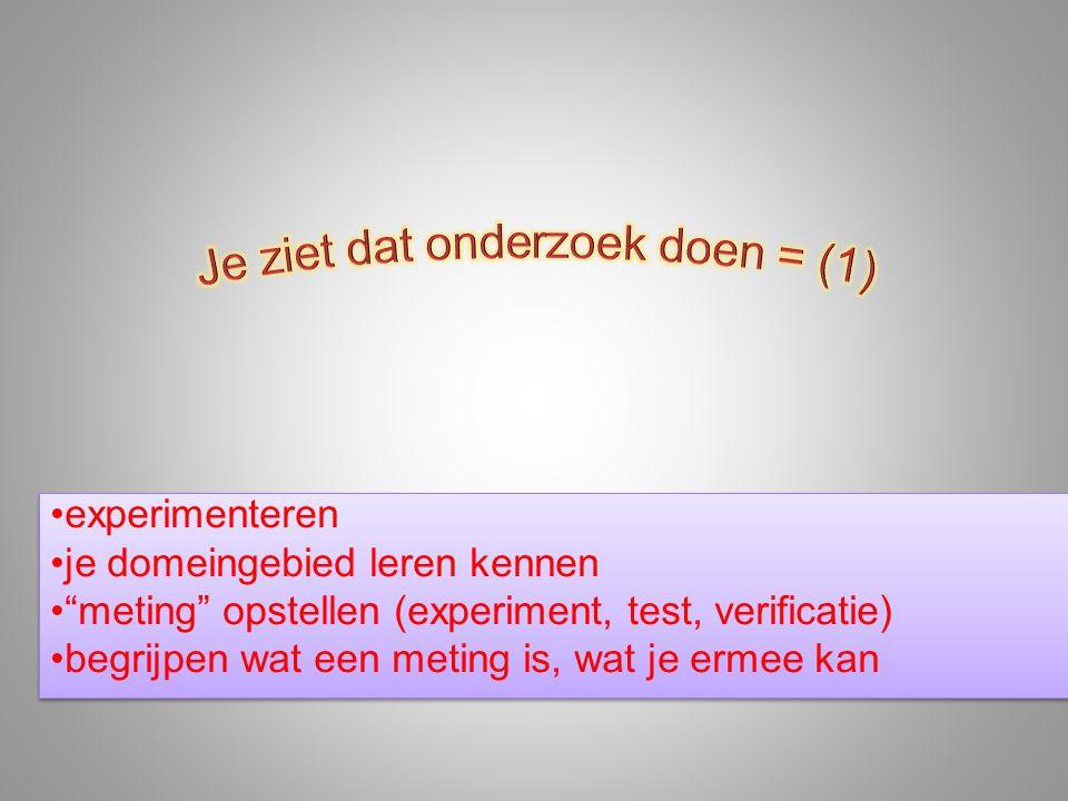 """•experimenteren •je domeingebied leren kennen •""""meting"""" opstellen (experiment, test, verificatie) •begrijpen wat een meting is, wat je ermee kan •expe"""