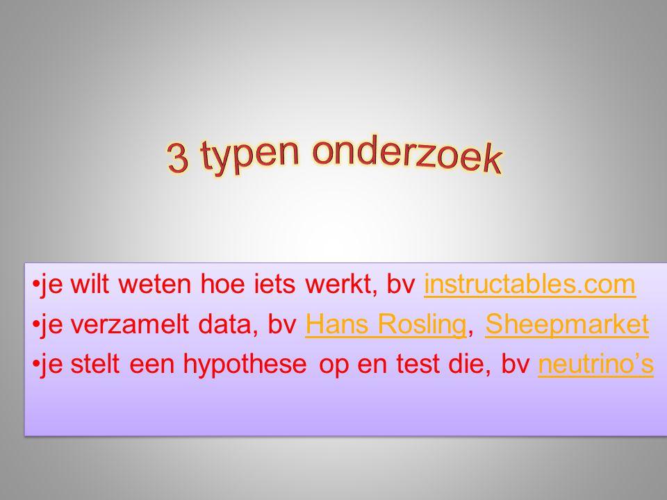 •je wilt weten hoe iets werkt, bv instructables.cominstructables.com •je verzamelt data, bv Hans Rosling, SheepmarketHans RoslingSheepmarket •je stelt