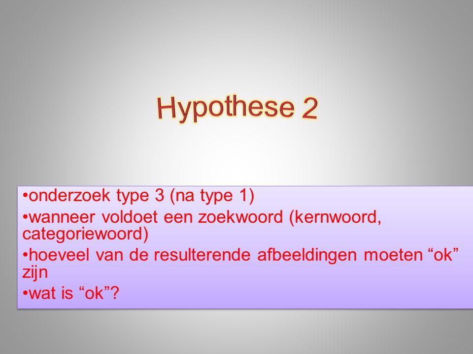 """•onderzoek type 3 (na type 1) •wanneer voldoet een zoekwoord (kernwoord, categoriewoord) •hoeveel van de resulterende afbeeldingen moeten """"ok"""" zijn •w"""