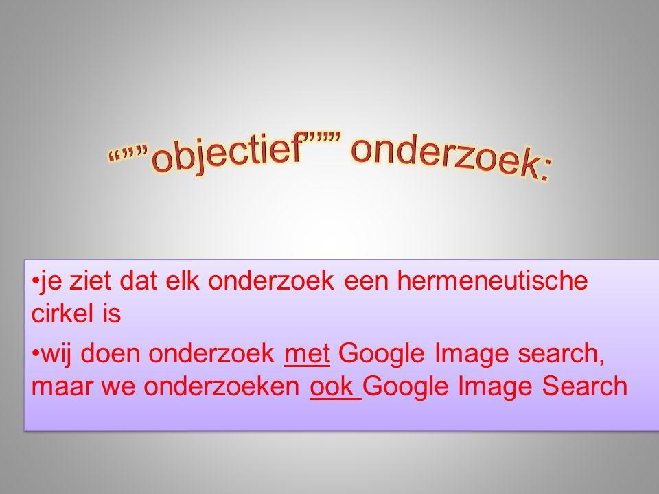 •je ziet dat elk onderzoek een hermeneutische cirkel is •wij doen onderzoek met Google Image search, maar we onderzoeken ook Google Image Search •je z