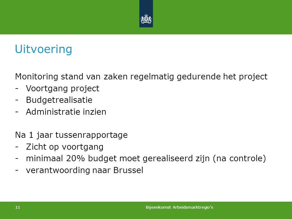 11 Uitvoering Monitoring stand van zaken regelmatig gedurende het project -Voortgang project -Budgetrealisatie -Administratie inzien Na 1 jaar tussenr
