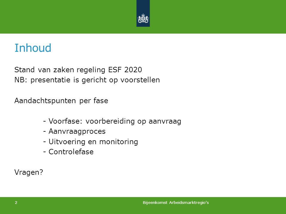 Inhoud Stand van zaken regeling ESF 2020 NB: presentatie is gericht op voorstellen Aandachtspunten per fase - Voorfase: voorbereiding op aanvraag - Aa