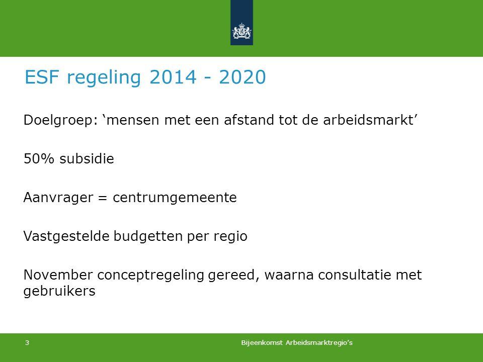 3 ESF regeling 2014 - 2020 Doelgroep: 'mensen met een afstand tot de arbeidsmarkt' 50% subsidie Aanvrager = centrumgemeente Vastgestelde budgetten per