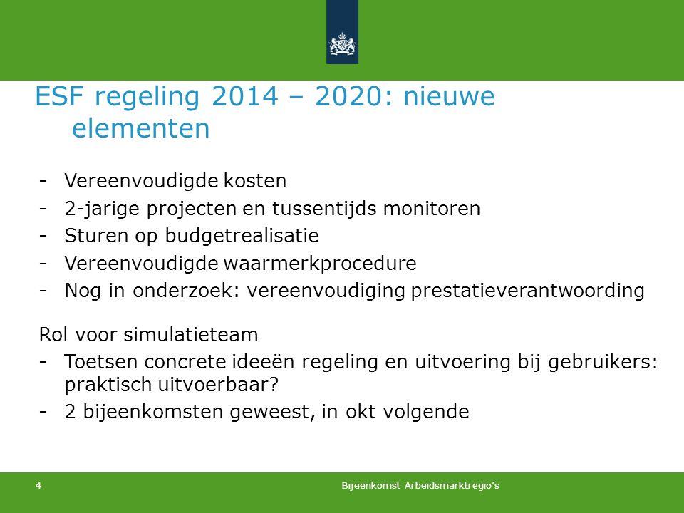 Bijeenkomst Arbeidsmarktregio's 4 ESF regeling 2014 – 2020: nieuwe elementen -Vereenvoudigde kosten -2-jarige projecten en tussentijds monitoren -Stur