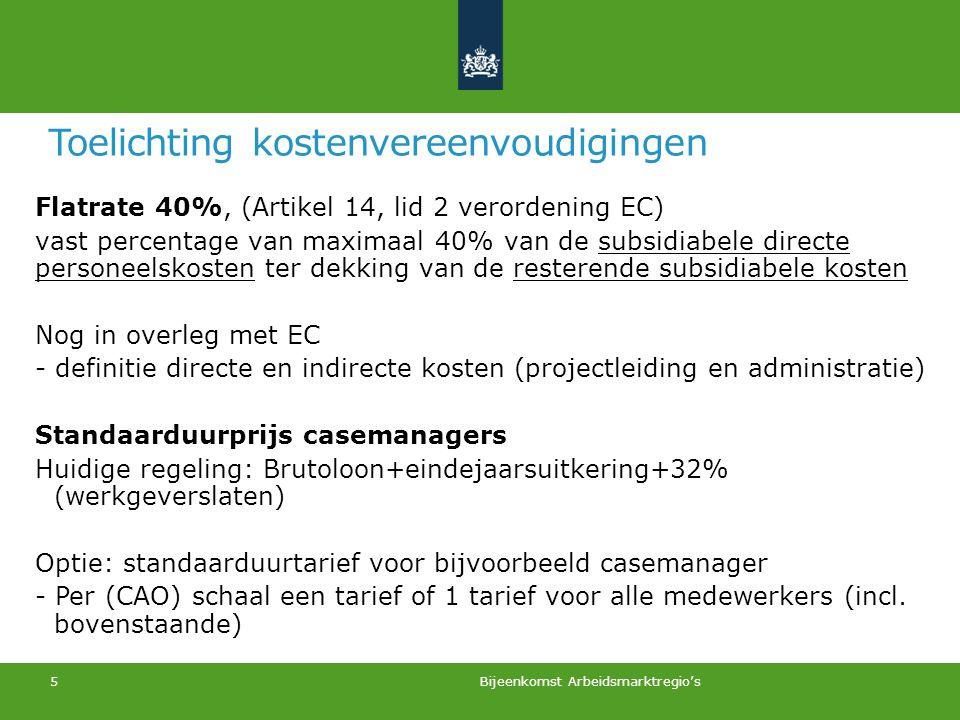 Toelichting kostenvereenvoudigingen Flatrate 40%, (Artikel 14, lid 2 verordening EC) vast percentage van maximaal 40% van de subsidiabele directe pers