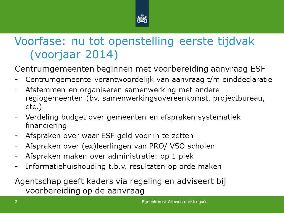 7 Voorfase: nu tot openstelling eerste tijdvak (voorjaar 2014) Centrumgemeenten beginnen met voorbereiding aanvraag ESF -Centrumgemeente verantwoordel