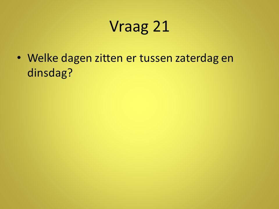 Vraag 21 • Welke dagen zitten er tussen zaterdag en dinsdag?