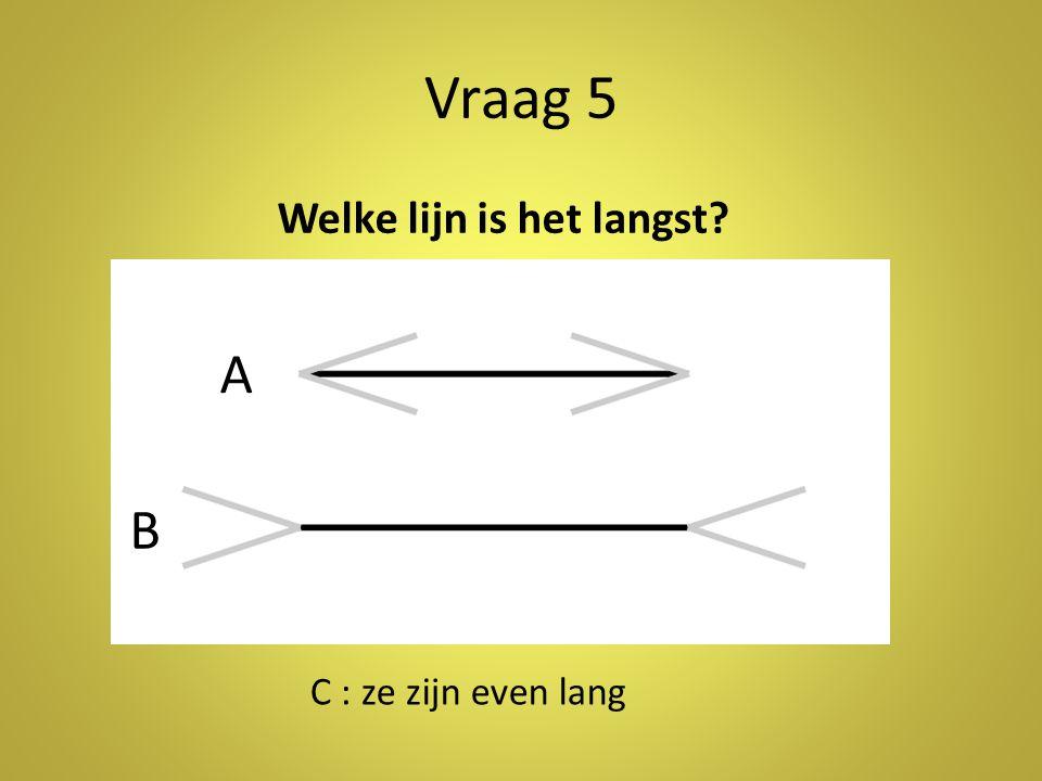 Vraag 5 Welke lijn is het langst? A B C : ze zijn even lang