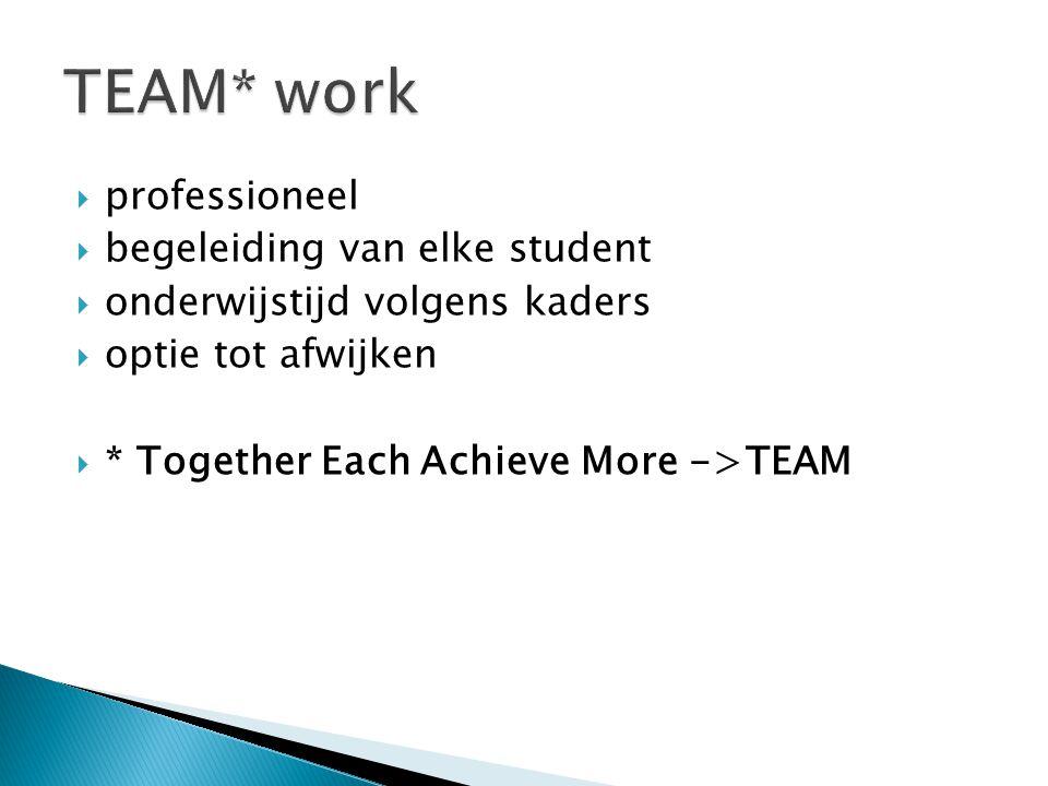 professioneel  begeleiding van elke student  onderwijstijd volgens kaders  optie tot afwijken  * Together Each Achieve More ->TEAM