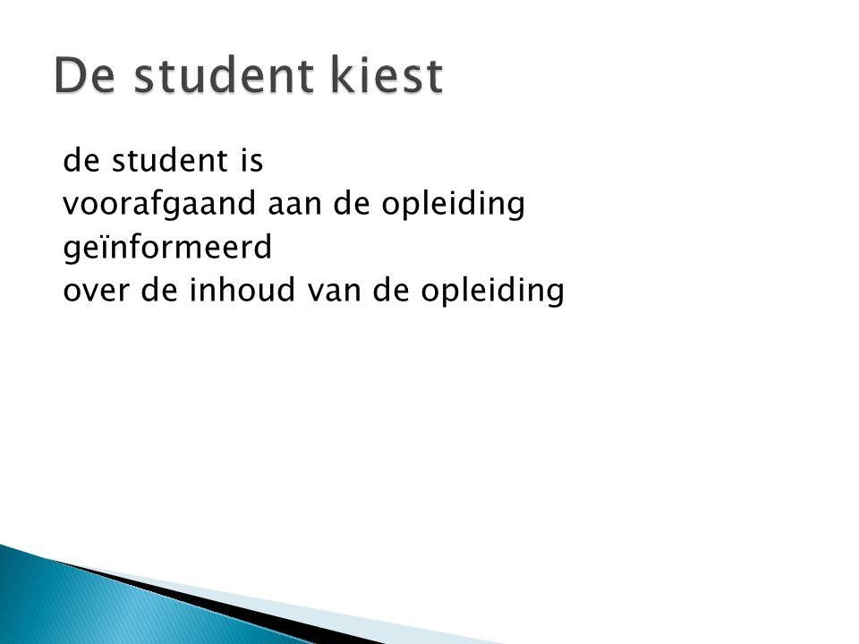de student is voorafgaand aan de opleiding geïnformeerd over de inhoud van de opleiding
