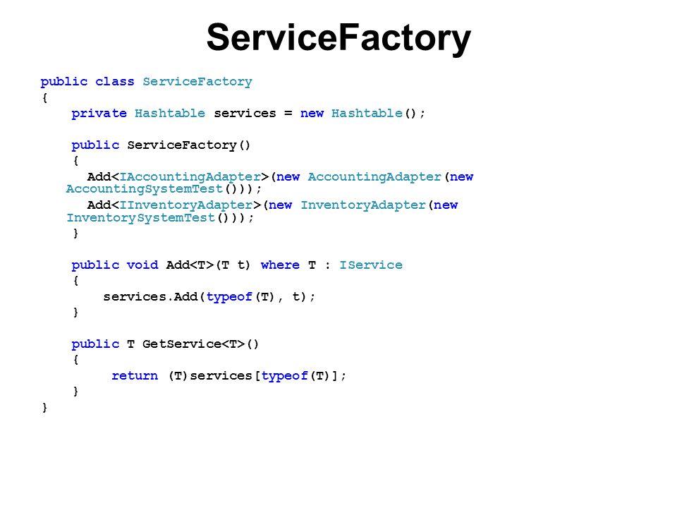 ServiceFactory public class ServiceFactory { private Hashtable services = new Hashtable(); public ServiceFactory() { Add (new AccountingAdapter(new AccountingSystemTest())); Add (new InventoryAdapter(new InventorySystemTest())); } public void Add (T t) where T : IService { services.Add(typeof(T), t); } public T GetService () { return (T)services[typeof(T)]; }