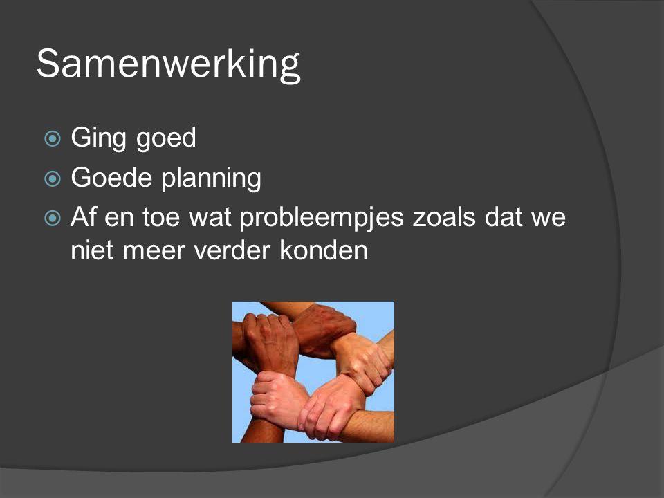 Samenwerking  Ging goed  Goede planning  Af en toe wat probleempjes zoals dat we niet meer verder konden