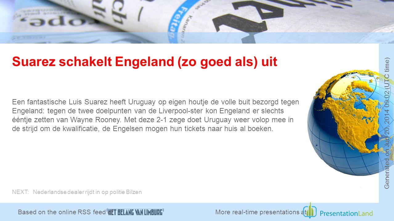 Suarez schakelt Engeland (zo goed als) uit Een fantastische Luis Suarez heeft Uruguay op eigen houtje de volle buit bezorgd tegen Engeland: tegen de twee doelpunten van de Liverpool-ster kon Engeland er slechts ééntje zetten van Wayne Rooney.