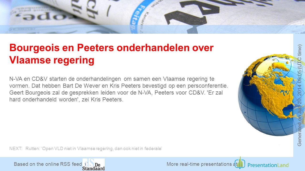 Based on the online RSS feed of Bourgeois en Peeters onderhandelen over Vlaamse regering N-VA en CD&V starten de onderhandelingen om samen een Vlaamse regering te vormen.