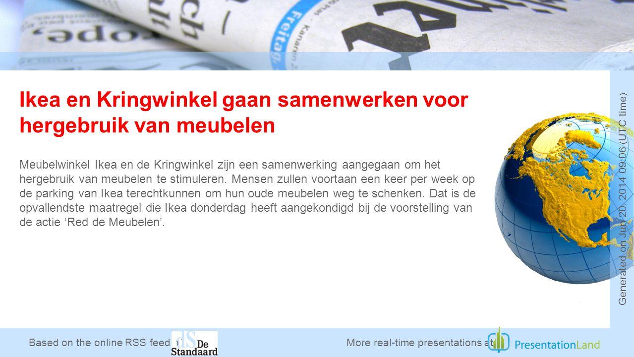 Based on the online RSS feed of Ikea en Kringwinkel gaan samenwerken voor hergebruik van meubelen Meubelwinkel Ikea en de Kringwinkel zijn een samenwerking aangegaan om het hergebruik van meubelen te stimuleren.