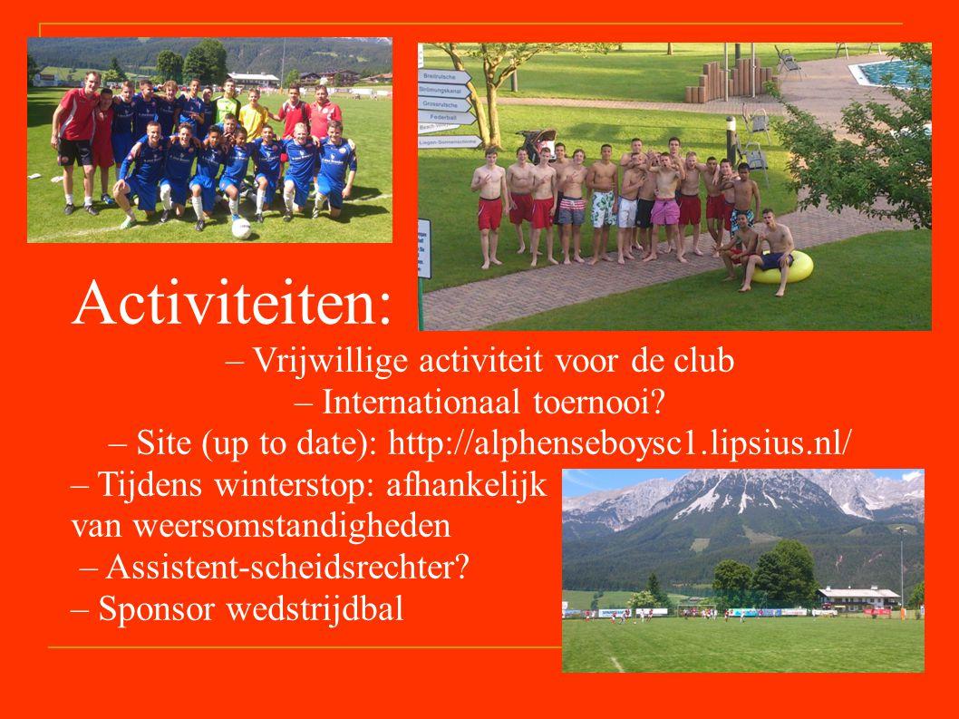 Activiteiten: – Vrijwillige activiteit voor de club – Internationaal toernooi.