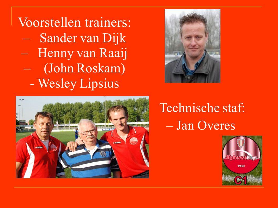 Technische staf: – Jan Overes Voorstellen trainers: – Sander van Dijk – Henny van Raaij – (John Roskam) - Wesley Lipsius