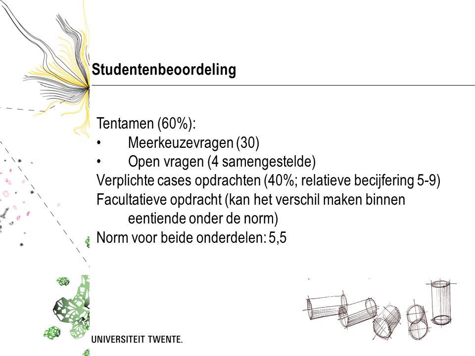 Studentenbeoordeling Tentamen (60%): •Meerkeuzevragen (30) •Open vragen (4 samengestelde) Verplichte cases opdrachten (40%; relatieve becijfering 5-9)
