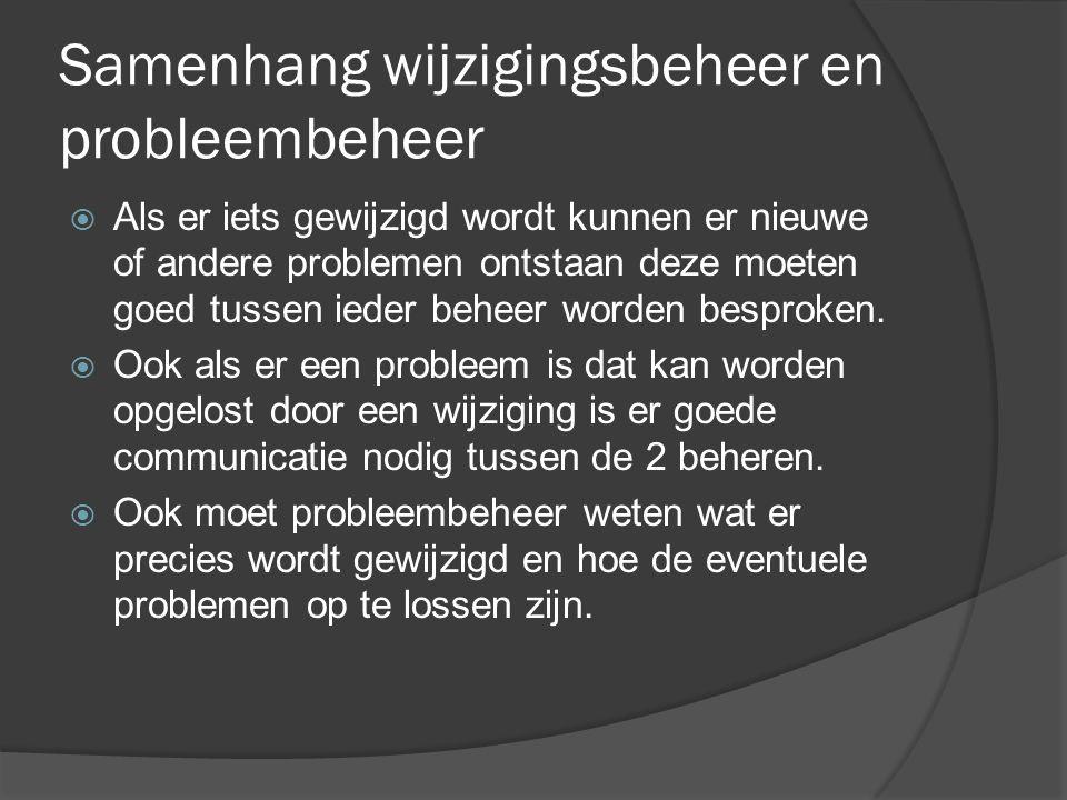 Samenhang wijzigingsbeheer en probleembeheer  Als er iets gewijzigd wordt kunnen er nieuwe of andere problemen ontstaan deze moeten goed tussen ieder beheer worden besproken.