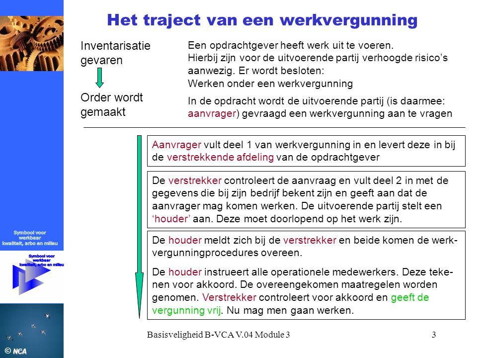 NCA © NCA Basisveligheid B-VCA V.04 Module 33 Het traject van een werkvergunning Inventarisatie gevaren Een opdrachtgever heeft werk uit te voeren. Hi