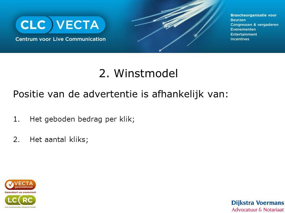 2. Winstmodel Positie van de advertentie is afhankelijk van: 1.Het geboden bedrag per klik; 2.Het aantal kliks;