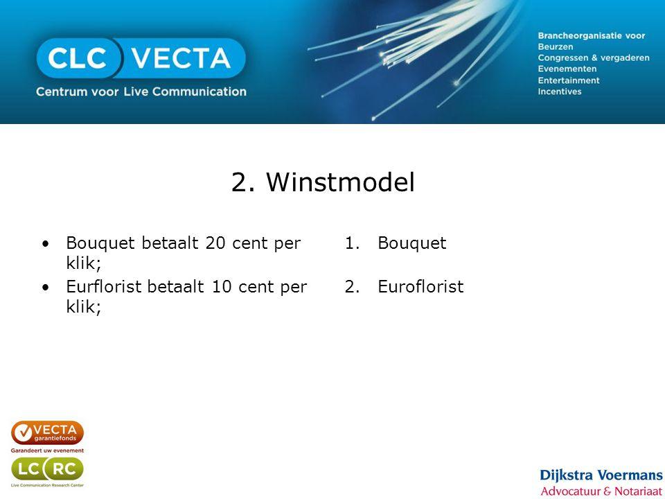 2. Winstmodel •Bouquet betaalt 20 cent per klik; •Eurflorist betaalt 10 cent per klik; 1.Bouquet 2.Euroflorist
