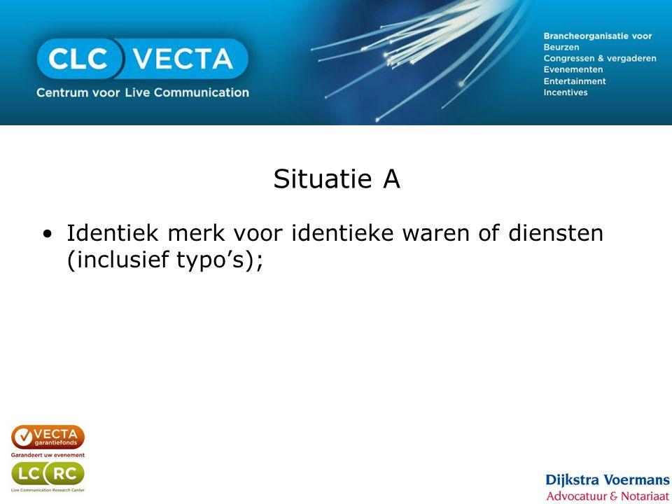 Situatie A •Identiek merk voor identieke waren of diensten (inclusief typo's);