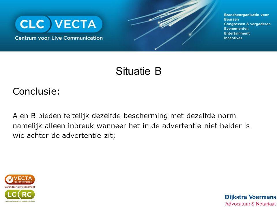 Situatie B Conclusie: A en B bieden feitelijk dezelfde bescherming met dezelfde norm namelijk alleen inbreuk wanneer het in de advertentie niet helder