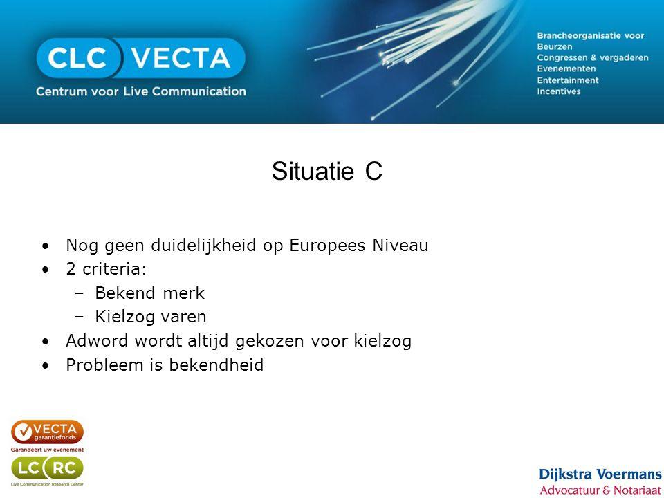 Situatie C •Nog geen duidelijkheid op Europees Niveau •2 criteria: –Bekend merk –Kielzog varen •Adword wordt altijd gekozen voor kielzog •Probleem is