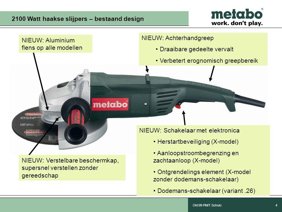 Okt 09 PM/T.Schulz4 NIEUW: Aluminium flens op alle modellen 2100 Watt haakse slijpers – bestaand design NIEUW: Verstelbare beschermkap, supersnel verstellen zonder gereedschap NIEUW: Schakelaar met elektronica • Herstartbeveiliging (X-model) • Aanloopstroombegrenzing en zachtaanloop (X-model) • Ontgrendelings element (X-model zonder dodemans-schakelaar) • Dodemans-schakelaar (variant.26) NIEUW: Achterhandgreep • Draaibare gedeelte vervalt • Verbetert erognomisch greepbereik