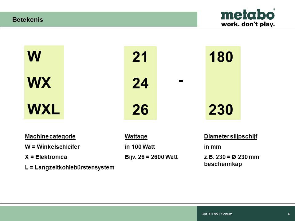Okt 09 PM/T.Schulz6 W WX WXL 21 24 26 - 180 230 Machine categorie W = Winkelschleifer X = Elektronica L = Langzeitkohlebürstensystem Wattage in 100 Watt Bijv.