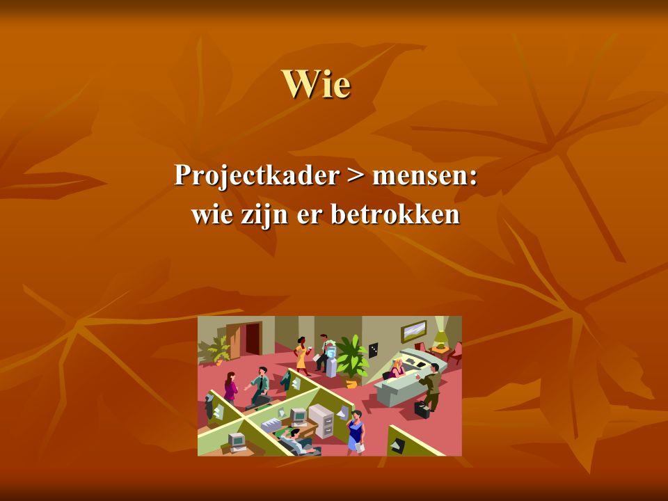 Wie Projectkader > mensen: wie zijn er betrokken