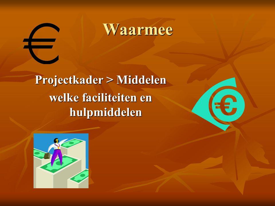 Waarmee Projectkader > Middelen welke faciliteiten en hulpmiddelen