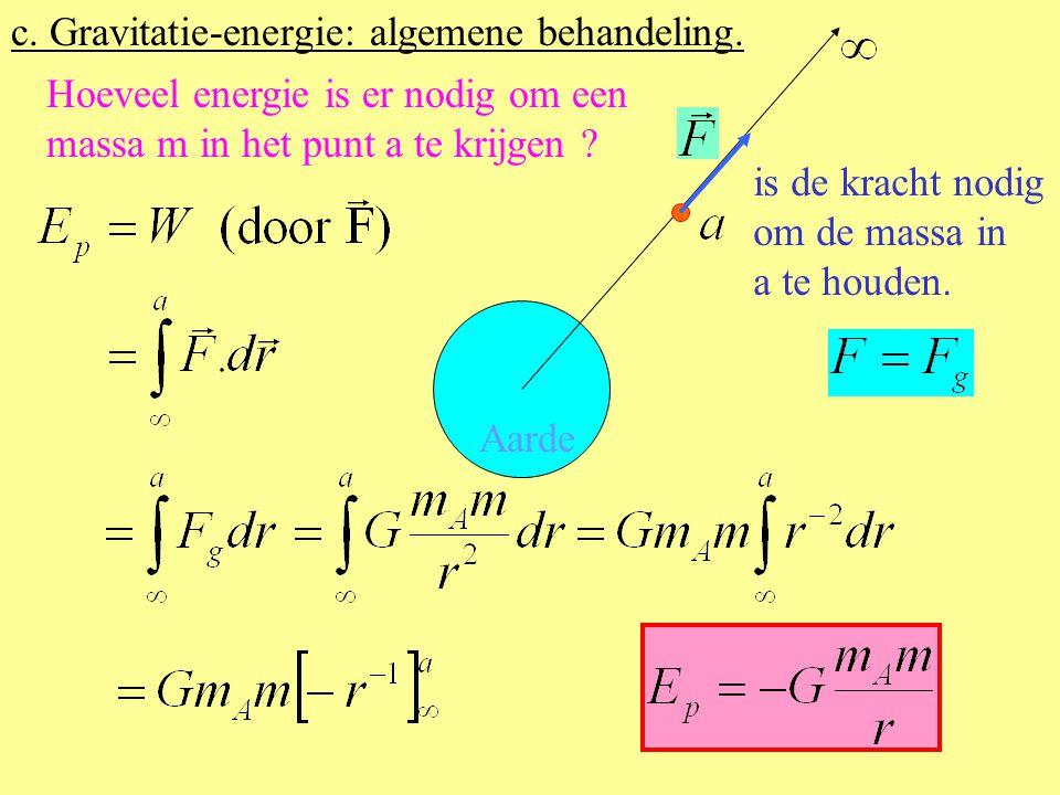Hoeveel arbeid komt er vrij als de massa zich verplaatst van punt a naar punt b ? Aarde