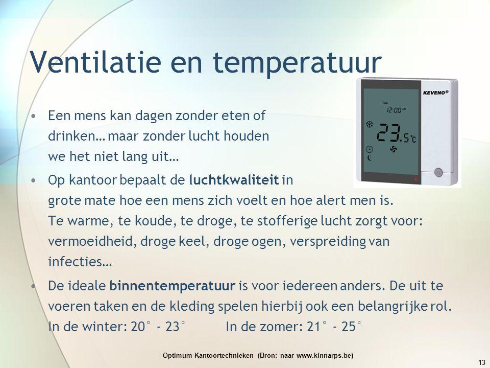 Ventilatie en temperatuur •Een mens kan dagen zonder eten of drinken… maar zonder lucht houden we het niet lang uit… •Op kantoor bepaalt de luchtkwali