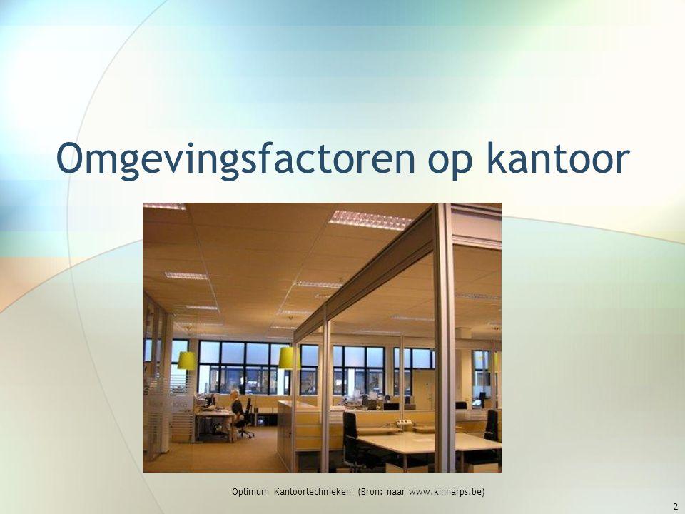 Omgevingsfactoren op kantoor Optimum Kantoortechnieken (Bron: naar www.kinnarps.be) 2
