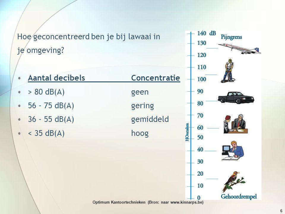 Hoe geconcentreerd ben je bij lawaai in je omgeving? •Aantal decibelsConcentratie •> 80 dB(A)geen •56 - 75 dB(A)gering •36 - 55 dB(A)gemiddeld •< 35 d