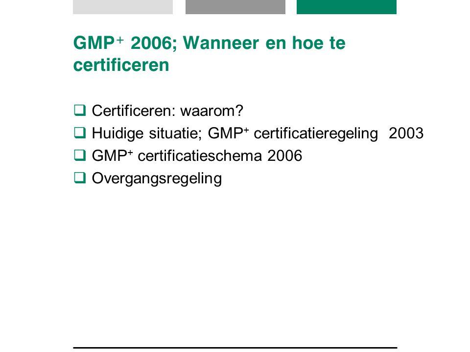GMP + 2006; Wanneer en hoe te certificeren  Certificeren: waarom?  Huidige situatie; GMP + certificatieregeling 2003  GMP + certificatieschema 2006