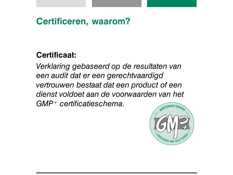Certificeren, waarom? Certificaat: Verklaring gebaseerd op de resultaten van een audit dat er een gerechtvaardigd vertrouwen bestaat dat een product o
