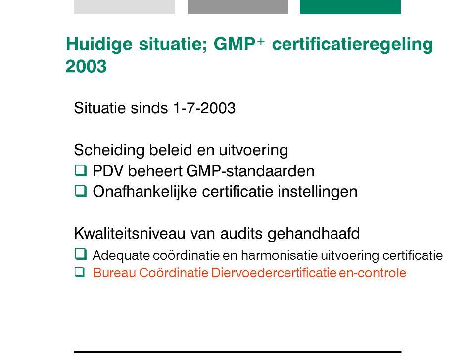 Huidige situatie; GMP + certificatieregeling 2003 Situatie sinds 1-7-2003 Scheiding beleid en uitvoering  PDV beheert GMP-standaarden  Onafhankelijk