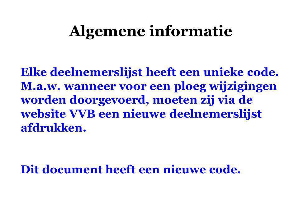 Algemene informatie Elke deelnemerslijst heeft een unieke code.